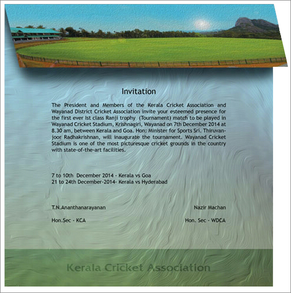 Invitation For Corporate Cricket Tournament: Invitation For The Ranji Trophy Match At Wayanad
